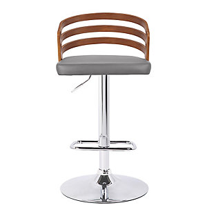 Adele Mid-Century Adjustable Swivel Barstool in Chrome with Gray Faux Leather and Walnut Veneer, Brown, large