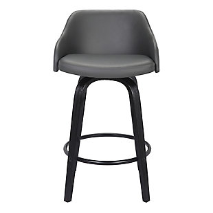 """Alec Contemporary 30""""Bar HeightSwivel Barstool in Black Brush Wood Finish and Gray Faux Leather, Gray, large"""