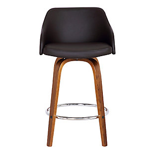 "Alec Contemporary 30"" Bar Height Swivel Barstool in Walnut Wood Finish and Brown Faux Leather, Brown, large"