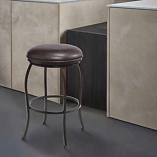 "Amy Contemporary 26"" Counter Height Barstool in Auburn Bay Finish and Brown Faux Leather, Brown, rollover"