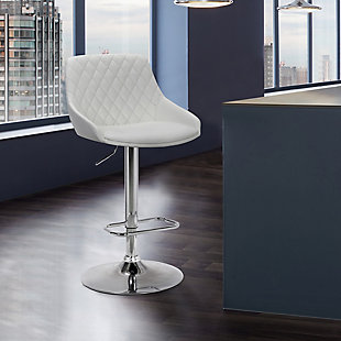 Anibal Contemporary Adjustable Barstool in Chrome Finish and White Faux Leather, White, rollover