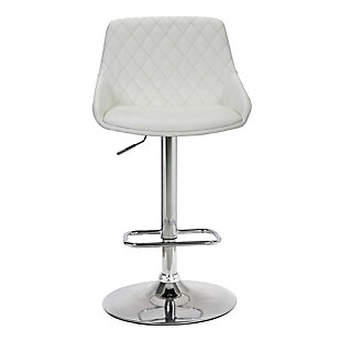 Anibal Contemporary Adjustable Barstool in Chrome Finish and White Faux Leather, White, large