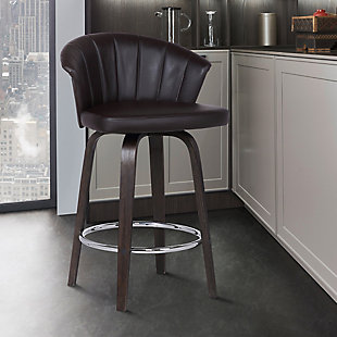 "Ashley Wood Back 30"" Swivel Brown Faux Leather Bar Stool, Brown, rollover"