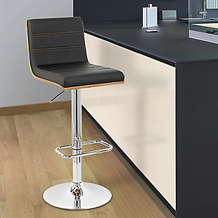 Aubrey Barstool Chrome Base finish with Black Faux Leather and Walnut Back, Black, rollover