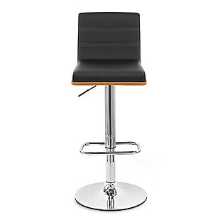 Aubrey Barstool Chrome Base finish with Black Faux Leather and Walnut Back, Black, large