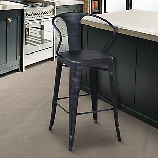 "Berkley 26"" Barstool in Industrial Gray Steel finish, Black, rollover"