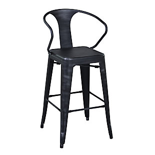 "Berkley 26"" Barstool in Industrial Gray Steel finish, Black, large"