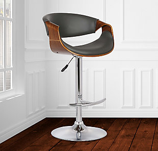 Butterfly Adjustable Swivel Barstool in Gray Faux Leather with Chrome Finish and Walnut Wood, Gray, rollover