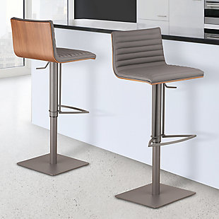 Café Adjustable Gray Metal Barstool in Gray Pu with Walnut Back, Gray, rollover