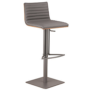 Café Adjustable Gray Metal Barstool in Gray Pu with Walnut Back, Gray, large