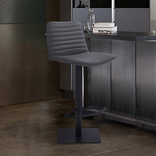 Carson Contemporary Adjustable Barstool in Black Powder Coated Finish and Gray Faux Leather, , rollover