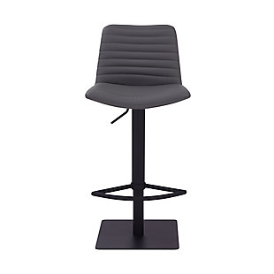 Carson Contemporary Adjustable Barstool in Black Powder Coated Finish and Gray Faux Leather, , large