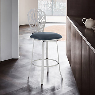 """Cherie Contemporary 30"""" Bar Height Barstool in Brushed Stainless Steel Finish and Gray Faux Leather, Gray, rollover"""