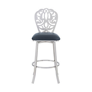 """Cherie Contemporary 30"""" Bar Height Barstool in Brushed Stainless Steel Finish and Gray Faux Leather, Gray, large"""