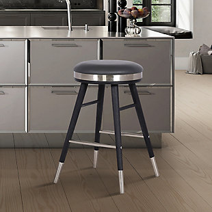 "Clara Backless Modern 26"" Gray Faux Leather Bar Stool, Gray, rollover"