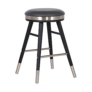 "Clara Backless Modern 26"" Gray Faux Leather Bar Stool, Gray, large"
