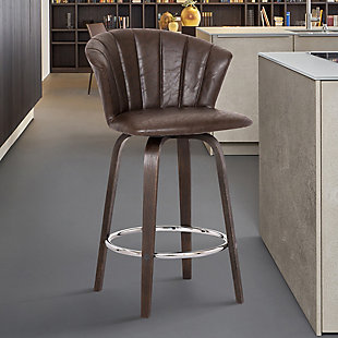 """Connie 26"""" Modern Brown Faux Leather Bar Stool, , rollover"""
