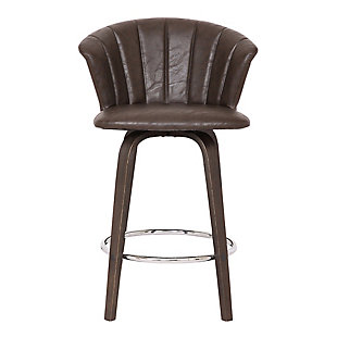 """Connie 30"""" Modern Brown Faux Leather Bar Stool, Brown, large"""