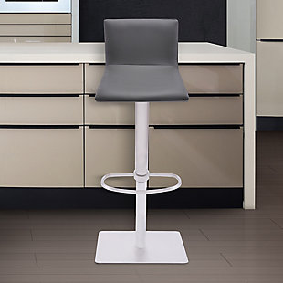 Crystal Barstool in Brushed Stainless Steel finish with Gray Faux Leather and Walnut Back, Light Gray, rollover