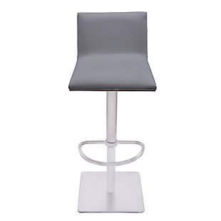 Crystal Barstool in Brushed Stainless Steel finish with Gray Faux Leather and Walnut Back, Light Gray, large