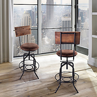 Damian Adjustable Barstool Metal in Industrial Gray Finish with Brown Fabric Seat, , rollover
