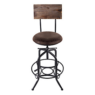 Damian Adjustable Barstool Metal in Industrial Gray Finish with Brown Fabric Seat, , large