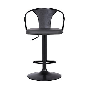 Eagle Contemporary Adjustable Barstool in Black Powder Coated Finish with Gray Faux Leather and Black Brushed Wood Finish Back, Gray, large