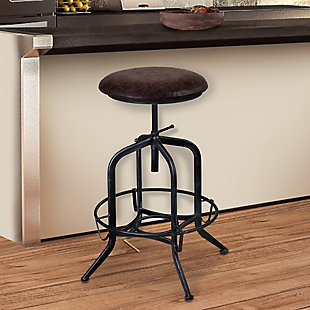 Elena Adjustable Barstool in Industrial Gray Finish with Brown Fabric Seat, , rollover