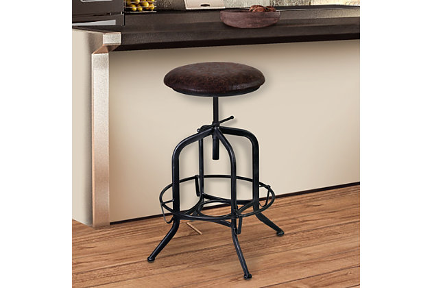 Elena Adjustable Barstool in Industrial Gray Finish with Brown Fabric Seat, , large