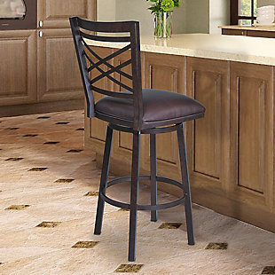 """Fargo 30"""" Barstool in Auburn Bay finish with Brown Pu upholstery, Brown, rollover"""