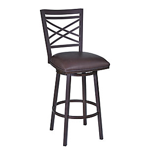 """Fargo 30"""" Barstool in Auburn Bay finish with Brown Pu upholstery, Brown, large"""