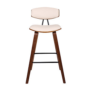 """Fox 30"""" Mid-Century Bar Height Barstool in Cream Faux Leather with Walnut Wood, Cream, large"""
