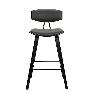 "Fox 26"" Mid-Century Counter Height Barstool in Gray Faux Leather with Black Brushed Wood, Gray/Black, large"