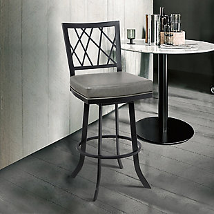 "Giselle Contemporary 30"" Bar Height Barstool in Matte Black Finish and Vintage Gray Faux Leather, Gray, rollover"