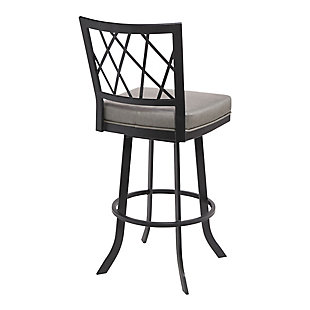 "Giselle Contemporary 30"" Bar Height Barstool in Matte Black Finish and Vintage Gray Faux Leather, Gray, large"