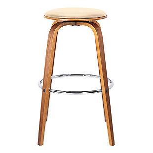 "Harbor 30"" Mid-Century Swivel Bar Height Backless Barstool in Cream Faux Leather with Walnut Veneer, Cream, large"