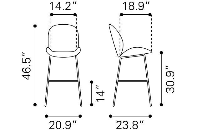 Miles Bar Chair Gray, Gray, large