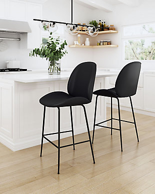 Miles Counter Chair, Black, rollover