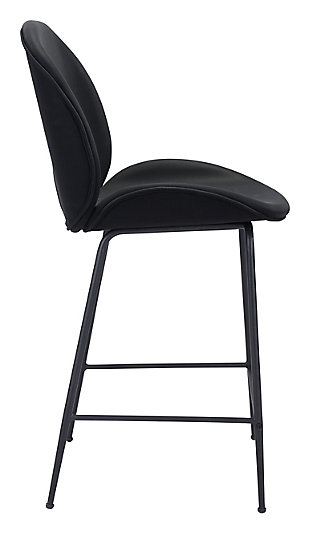 Miles Counter Chair, Black, large