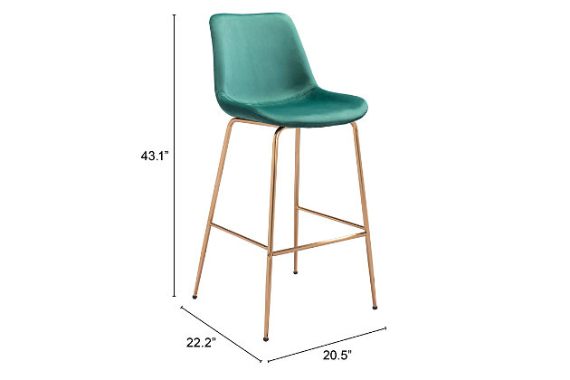 Tony Bar Chair Green And Gold, Green/Gold, large