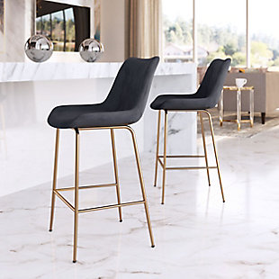 Tony Counter Chair Black And Gold, Black/Gold, rollover