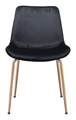 Tony  Dining Chair (Set of 2) Black and Gold, Black/Gold, rollover
