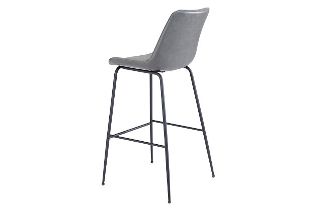 Byron Bar Chair Gray, Gray, large
