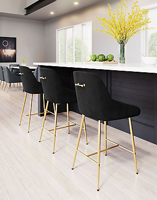 Mira  Counter Chair Black and Gold, Black/Gold, rollover