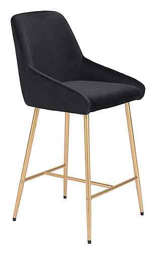 Mira  Counter Chair Black and Gold, Black/Gold, large
