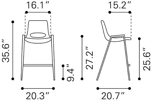 Desi Counter Chair (set Of 2) Beige, Beige, large