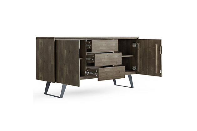 Lowry Solid Acacia Wood and Metal 60 inch WideRectangle Modern Industrial Sideboard Buffet, , large