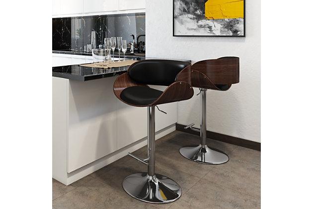 Amery Mid Century Modern Adjustable Swivel Bar Stool, , large