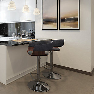 Lowell Mid Century Modern Adjustable Swivel Bar Stool, , rollover