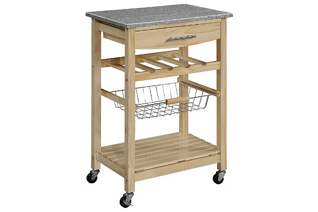 Kitchen Island Granite Top Cart, , large
